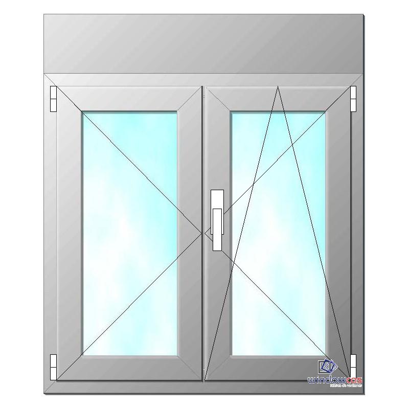 Ventana de pvc oscilo batiente de 2 hojas s752 con for Precios de ventanas con persianas