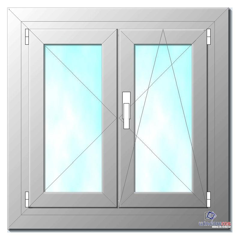 Ventana de pvc oscilo batiente de 2 hojas s752 windowcas for Marcos de pvc para ventanas