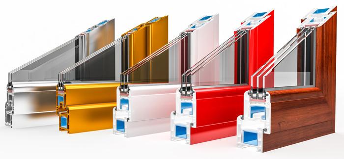 Gama de perfiles de pvc lacados en colores.